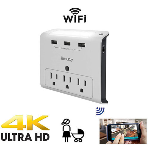 UHD 4k Night Light Outlet Tap Nanny Cam Includes a 128 Gig sd card W/ Live View WiFi + Dvr
