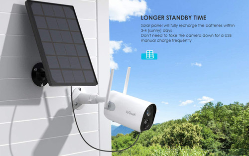Solar Wireless Outdoor Security Camera, WiFi Solar Rechargeable Battery Power IP Surveillance Home Cameras, 1080P, Human Motion Detection, Night Vision, 2-Way Audio, 4dbi Antenna, IP65 Waterproof, Cloud/SD