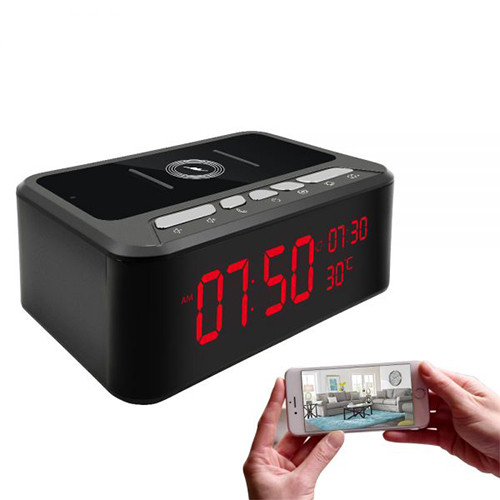 HD 1080P Wireless Charger Clock Security Camera