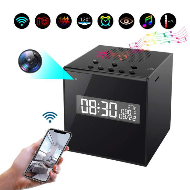 Kkeep Bluetooth Speaker Surveillance Camera WiFi HD 1080P Camera Clock with Night Vision Wireless Stereo Speaker
