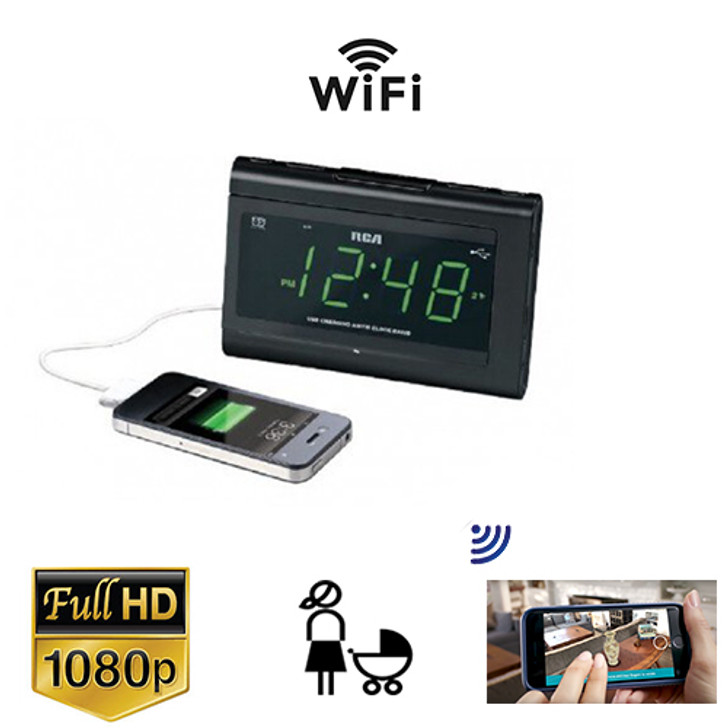 Pod Clock Radio Nanny Cam W/ Wireless Streaming Video/ Mobile Viewing/SD Card Recording