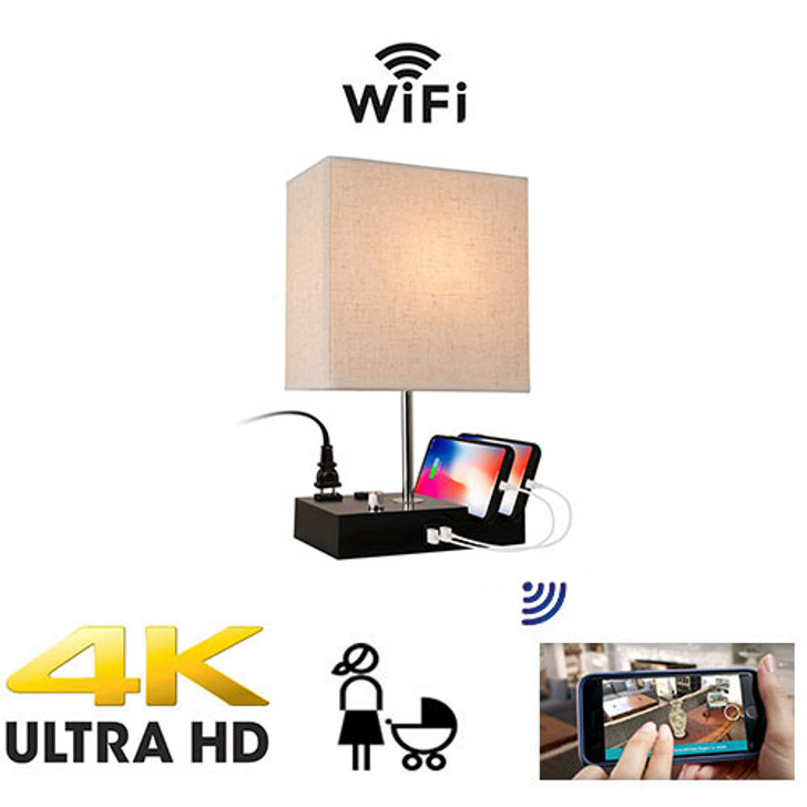UHD 4k WiFI P2P Lamp USB Charging Station Bedside Nanny Camera W/ Live View WiFi + Dvr