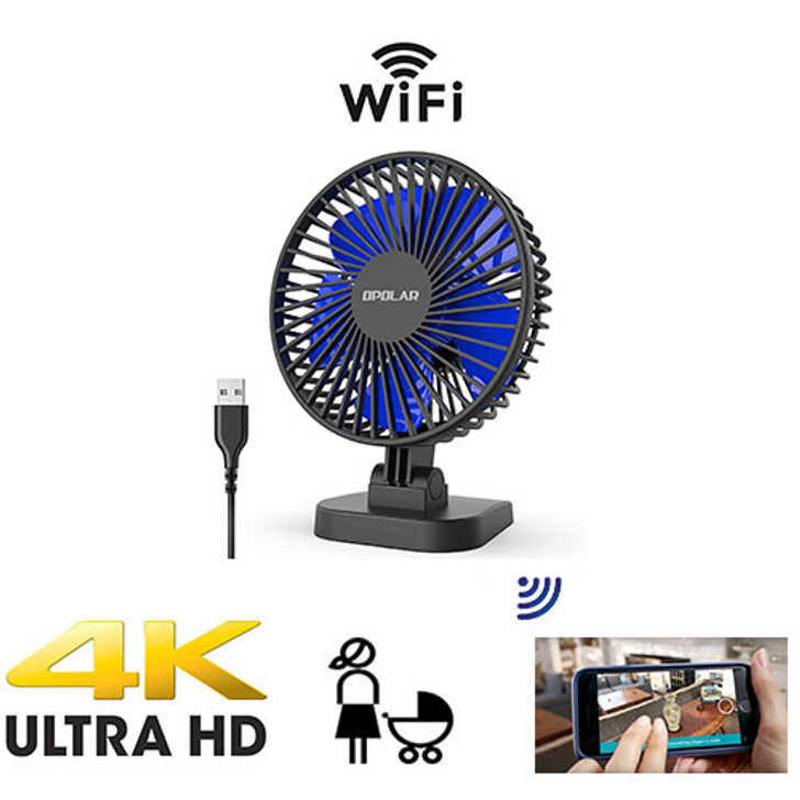 UHD 4k WiFI P2P USB Desktop Fan Nanny Cam W/ Live View WiFi + Dvr