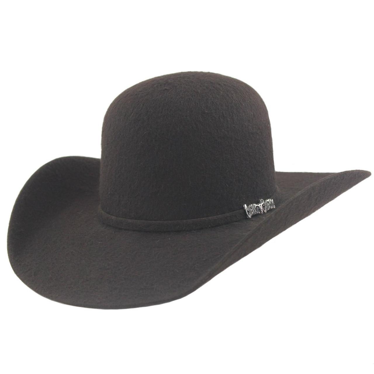 2f42f12a5 Cuernos Chuecos 10x Chocolate Grizzly Fur Felt Open Crown Cowboy Hat