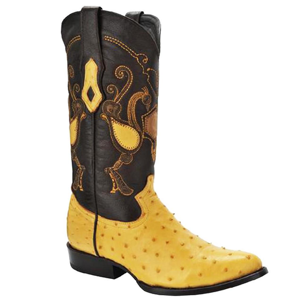 814c143342b Cuadra Men's Ostrich Cowboy Boots - Yellow