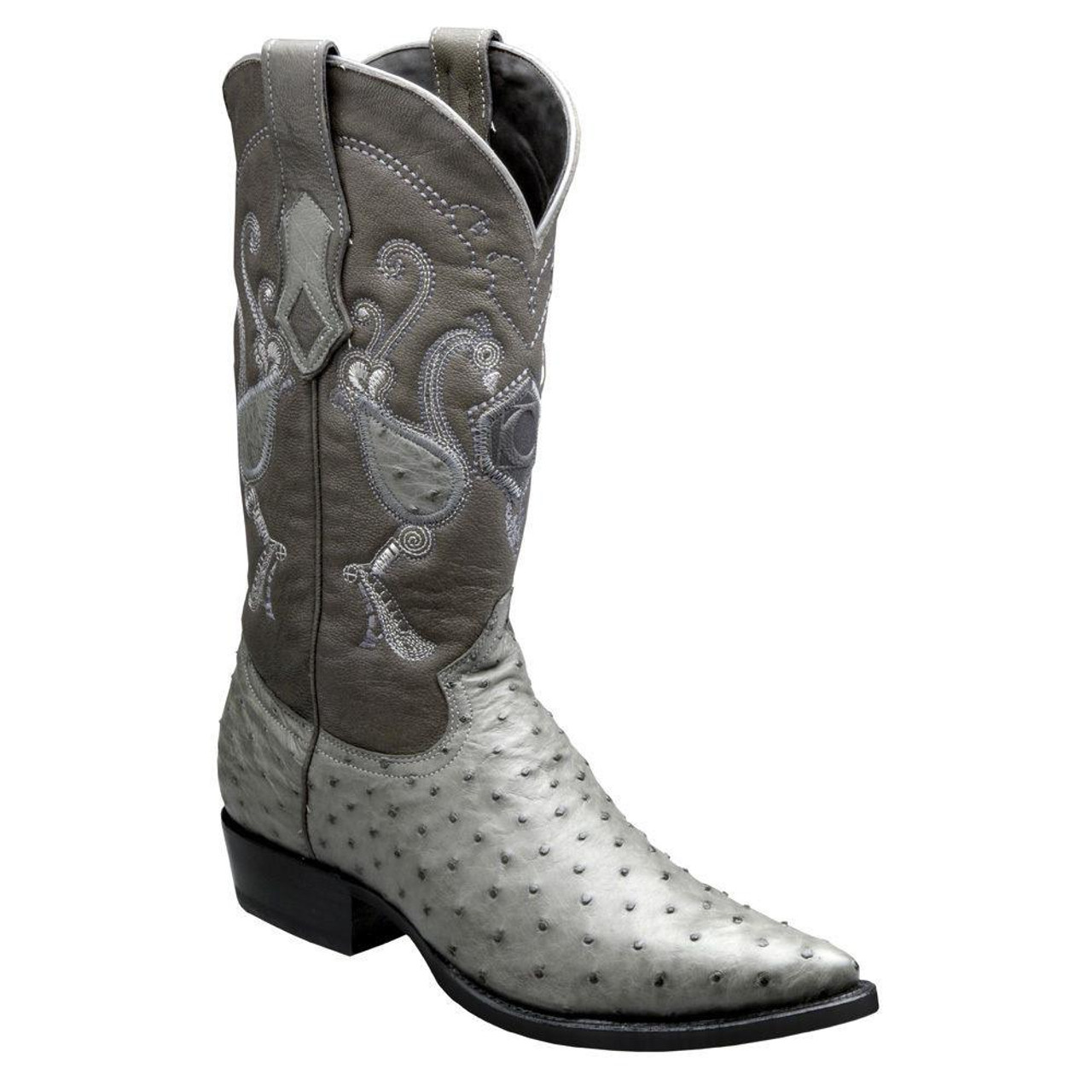 3fd30421b6e Cuadra Men's Traditional Ostrich Western Boots - Grey