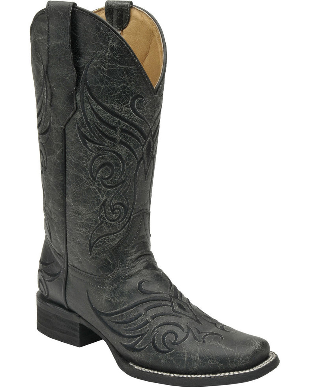 29e24b5150f Circle G Women's Crackle Cowgirl Boots - Square Toe