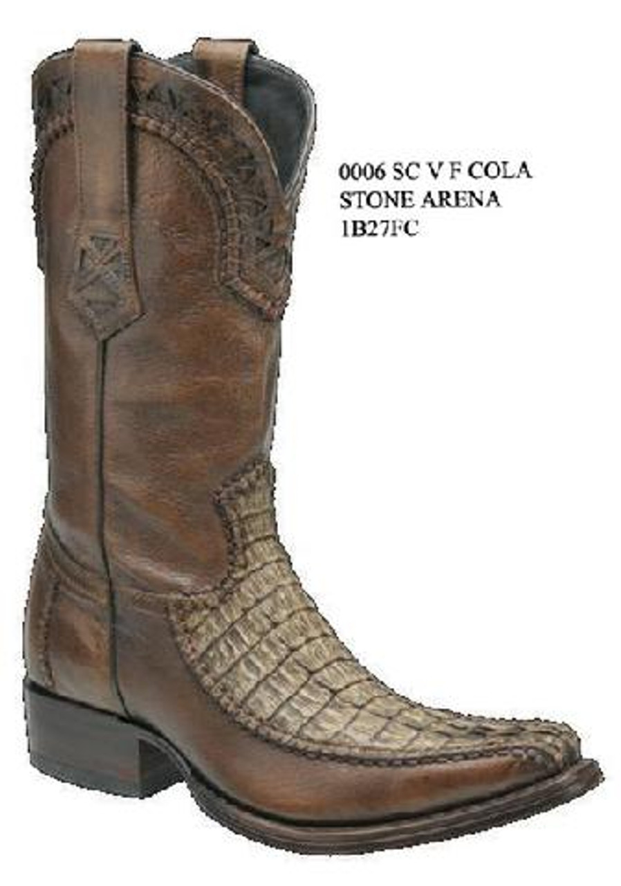 6e05b5daf97 Cuadra Boots - Half Fuscus Caiman Belly - Versace Toe - Stone Arena