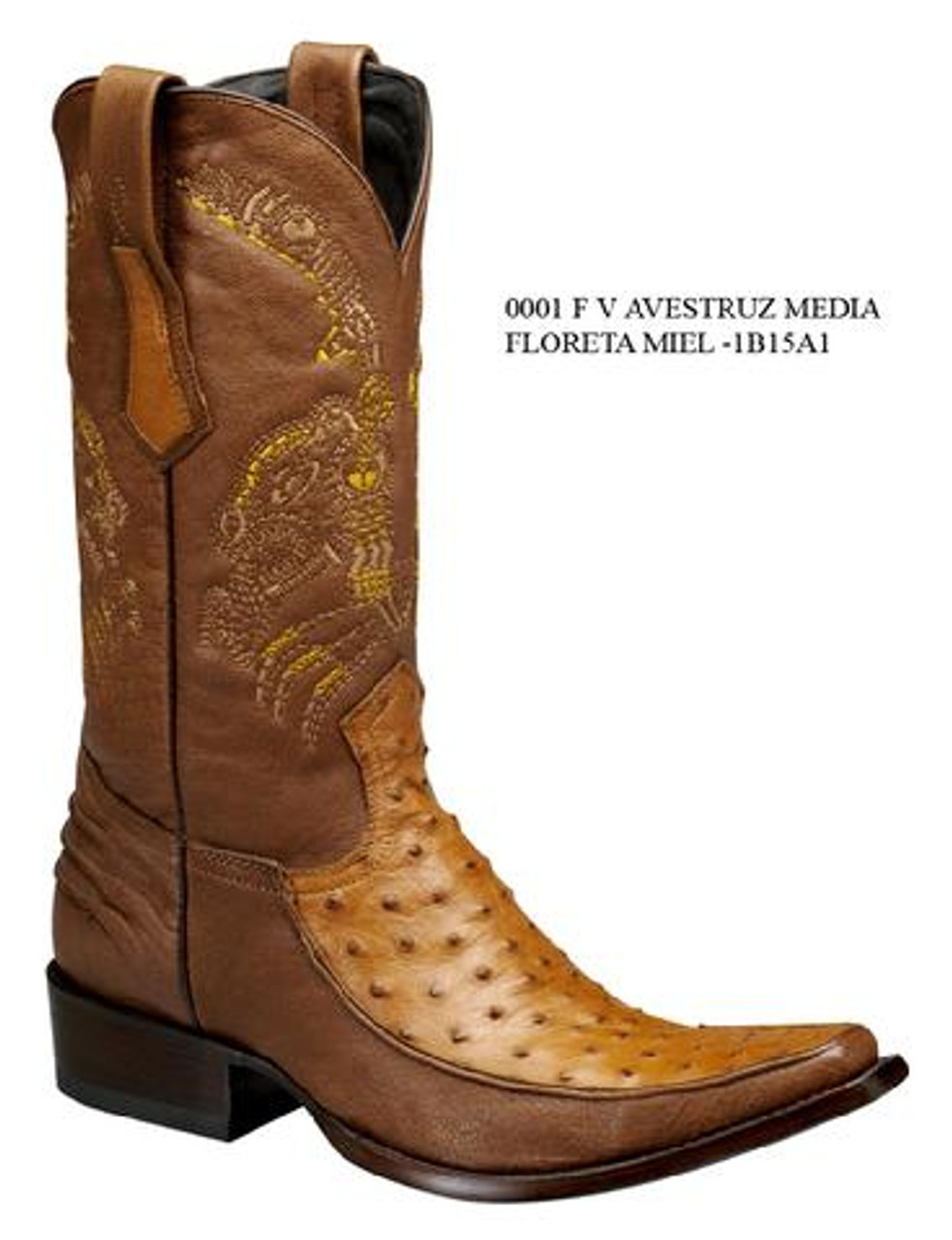 Cuadra Boots Half Quill Ostrich Leather Versace Toe Honey