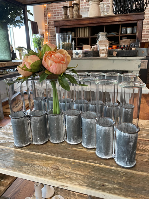 Metal Stand with 7 Glass Vases