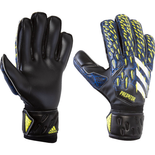 adidas Predator Match Fingersave Goalkeeper Glove - Black/Royal/Yellow - IMAGE 1