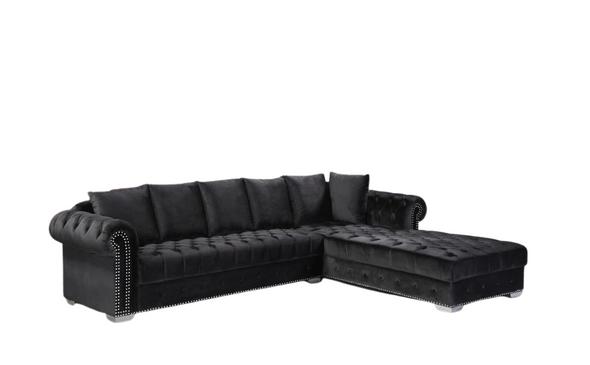 Black modern furniture  velvet sectional seccional negro  mueble moderno L shape comfortable soft shiny  houston katy richmond spring affordable