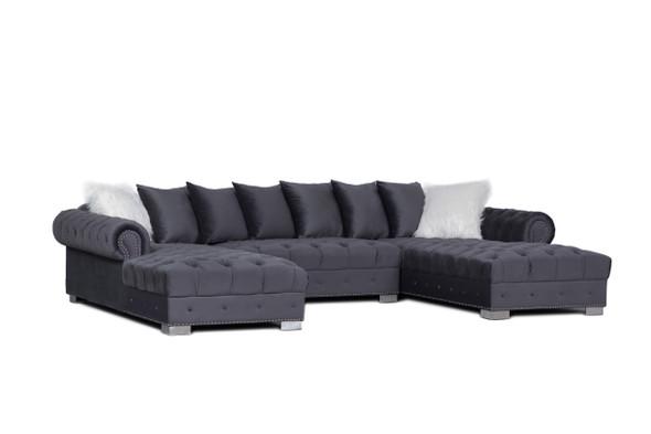 grey smoke modern furniture  velvet sectional seccional gris mueble moderno L shape comfortable soft shiny  houston katy richmond spring affordable