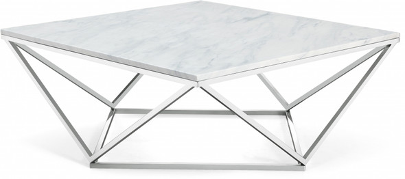Silver Square Marble Coffee Table