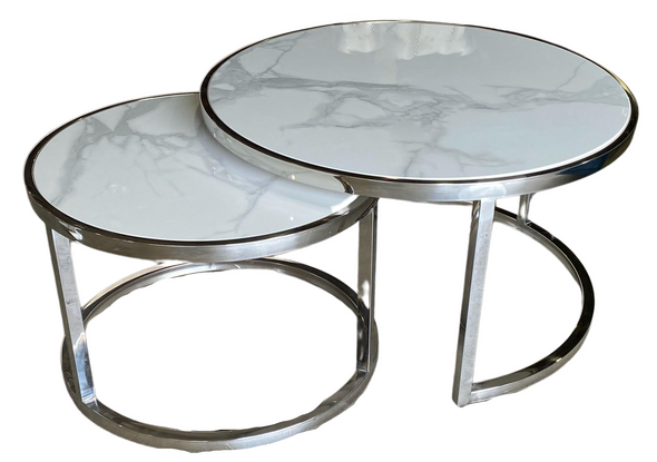 Circle Silver Marble Table