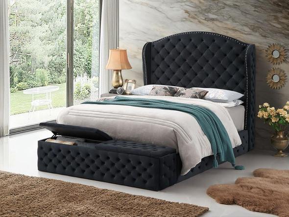 Laura Black  Velvet Platform Footboard Storage Bed