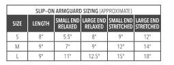 Slip Arm Guard Size Chart
