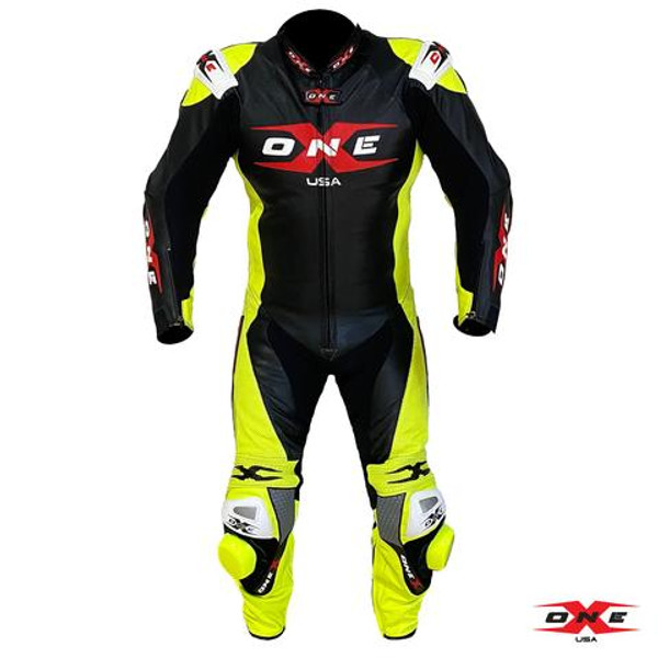 ONEX USA XR3 PRO RACE LEATHER RACING SUIT - BLACK/FLUOR YELLOW