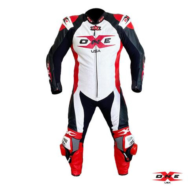 ONEX USA XR3 PRO RACE LEATHER RACING SUIT - WHITE/RED