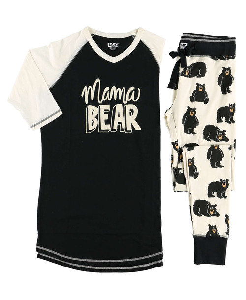 Mama Bear pajamas lazy one 95% Combed Cotton, 5% Lycra – for better shape retention • Interlock Fabric • Contrasting Waistband & Cuffs • Drawstring • Form Fitting Styling • Elastic Encased Waistband • Fabric has enough weight for no show coverage • Permanent No Fade Print • Preshrunk
