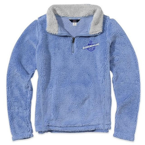 """Rushford Lake Sherpa 8 oz, 100% polyester faux sherpa Covered metal quarter length zipper Contrast interior collar Classic Ladies Fit (not unisex) Serenity Blue color """"Rushford Lake"""" and an anchor embroidered on left chest"""