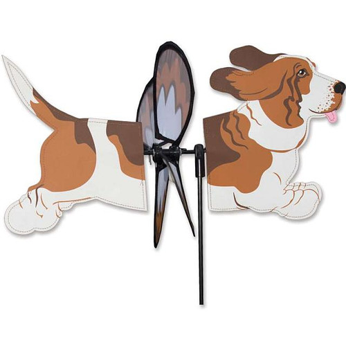 Basset Hound windspinner The Petite Spinners come in a compact package and are simple to assemble and display The wings are pre-glued so you won't be picking up pieces after a big wind Made from durable polyester rip-stop Size: 19 x 9.75 in. Diameter: 12.5 in.  The Petite Spinners come in a compact package and are simple to assemble and display The wings are pre-glued so you won't be picking up pieces after a big wind Made from durable polyester rip-stop Size: 19 x 9.75 in. Diameter: 12.5 in.
