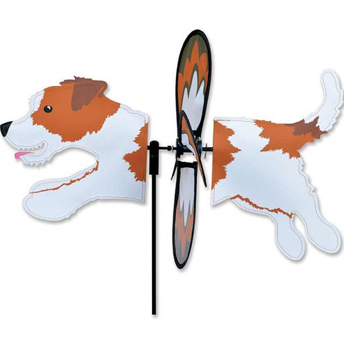 Jack Russell Terrier Petite Wind Spinner The Petite Spinners come in a compact package and are simple to assemble and display The wings are pre-glued so you won't be picking up pieces after a big wind Made from durable polyester rip-stop Size: 19 x 9.75 in.  Diameter: 12.5 in.