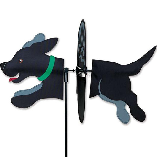 Black Lab Petite Wind Spinner The Petite Spinners come in a compact package and are simple to assemble and display The wings are pre-glued so you won't be picking up pieces after a big wind Made from durable polyester rip-stop Size: 19 x 9.75 in.  Diameter: 12.5 in.