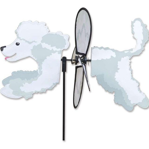 Poodle-White Petite Wind Spinner The Petite Spinners come in a compact package and are simple to assemble and display The wings are pre-glued so you won't be picking up pieces after a big wind Made from durable polyester rip-stop Size: 19 x 9.75 in. Diameter: 12.5 in.