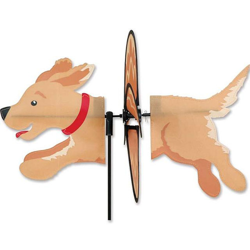Golden Retriever Petite Wind Spinner The Petite Spinners come in a compact package and are simple to assemble and display The wings are pre-glued so you won't be picking up pieces after a big wind Made from durable polyester rip-stop Size: 19 x 9.75 in. Diameter: 12.5 in.