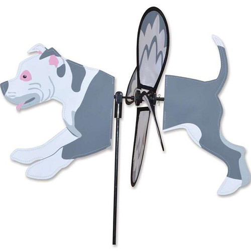 Pit Bull Petite Wind Spinner The Petite Spinners come in a compact package and are simple to assemble and display The wings are pre-glued so you won't be picking up pieces after a big wind Made from durable polyester rip-stop Size: 19 x 9.75 in. Diameter: 12.5 in.