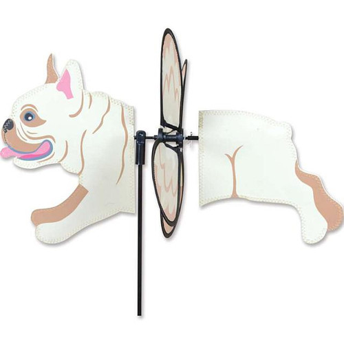 French Bulldog Petite Wind Spinner The Petite Spinners come in a compact package and are simple to assemble and display The wings are pre-glued so you won't be picking up pieces after a big wind Made from durable polyester rip-stop Size: 19 x 9.75 in.  Diameter: 12.5 in.