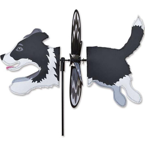 Border Collie Petite Wind Spinner The Petite Spinners come in a compact package and are simple to assemble and display The wings are pre-glued so you won't be picking up pieces after a big wind Made from durable polyester rip-stop Size: 19 x 9.75 in. Diameter: 12.5 in.