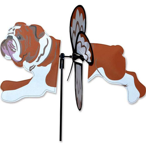 Bulldog Petite Wind Spinner The Petite Spinners come in a compact package and are simple to assemble and display The wings are pre-glued so you won't be picking up pieces after a big wind Made from durable polyester rip-stop Size: 19 x 9.75 in.  Diameter: 12.5 in.