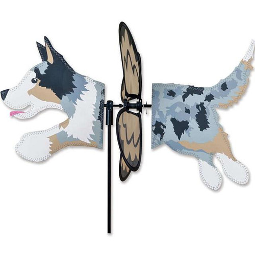 Australian Shepherd Petite Wind Spinner The Petite Spinners come in a compact package and are simple to assemble and display The wings are pre-glued so you won't be picking up pieces after a big wind Made from durable polyester rip-stop Size: 19 x 9.75 in. Diameter: 12.5 in.