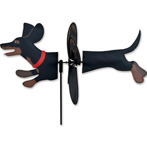 Dachshund Black Petite Wind Spinner The Petite Spinner come in a compact package and are simple to assemble and display The wings are pre-glued so you won't be picking up pieces after a big wind Made from durable polyester rip-stop Size: 19 x 9.75 in.  Diameter: 12.5 in.