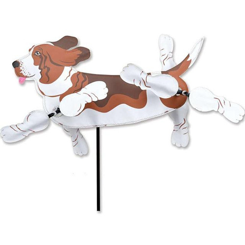 Basset Hound WhirliGig Proven to spin in lighter breezes, the durable SunTex(TM) fabric wings work much better than metal or wooden devices and liven up any yard or garden All come complete with an oversized ground stake for easy installation Size: 18.5 x 9 in  Diameters: 10 in., 11.5 in
