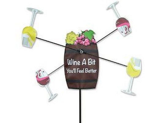 """Wine a Bit WhirliGig Proven to spin in lighter breezes, the durable SunTex(TM) fabric wings work much better than metal or wooden devices and liven up any yard or garden All come complete with an oversized ground stake for easy installation Size: 21"""" diameter"""