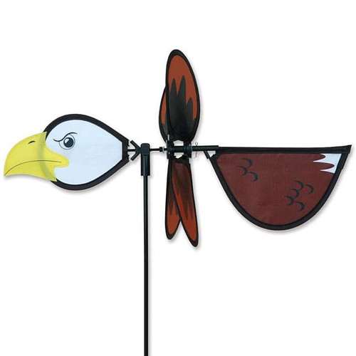 Eagle Petite Wind Spinner The Petite Spinners come in a compact package and are simple to assemble and display The wings are pre-glued so you won't be picking up pieces after a big wind Made from durable polyester rip-stop Size: 19 x 9.75 in. Diameter: 12.5 in.