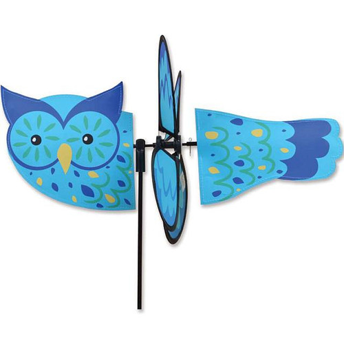 Owl Petite Wind Spinner The Petite Spinners come in a compact package and are simple to assemble and display The wings are pre-glued so you won't be picking up pieces after a big wind Made from durable polyester rip-stop Size: 19 x 9.75 in. Diameter: 12.5 in.