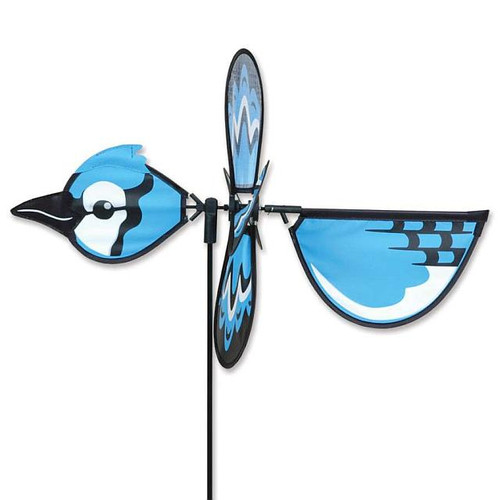 Blue Jay Petite Wind Spinner The Petite Spinners come in a compact package and are simple to assemble and display The wings are pre-glued so you won't be picking up pieces after a big wind Made from durable polyester rip-stop Size: 19 x 9.75 in. Diameter: 12.5 in.