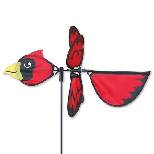 Cardinal Petite Wind Spinner The Petite Spinners come in a compact package and are simple to assemble and display The wings are pre-glued so you won't be picking up pieces after a big wind Made from durable polyester rip-stop Size: 19 x 9.75 in.  Diameter: 12.5 in.