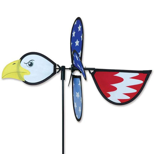 Patriotic Eagle Petite Wind Spinner The Petite Spinners come in a compact package and are simple to assemble and display The wings are pre-glued so you won't be picking up pieces after a big wind Made from durable polyester rip-stop Size: 19 x 9.75 in. Diameter: 12.5 in.