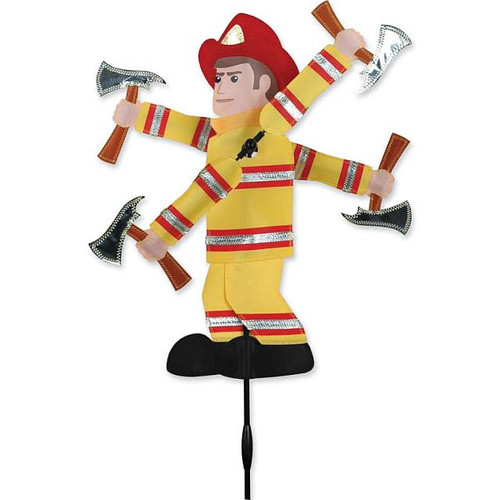 "Fireman WhirliGig Proven to spin in lighter breezes, the durable SunTex(TM) fabric wings work much better than metal or wooden devices and liven up any yard or garden All come complete with an oversized ground stake for easy installation Size: 19"" diameter"