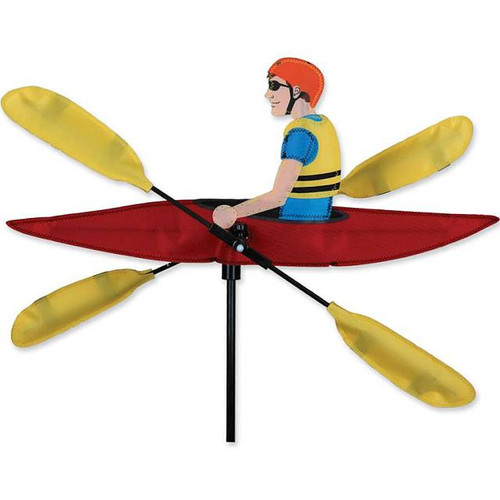 """Kayak WhirliGig Proven to spin in lighter breezes, the durable SunTex(TM) fabric wings work much better than metal or wooden devices and liven up any yard or garden All come complete with an oversized ground stake for easy installation Size: 20.5"""" diameter"""