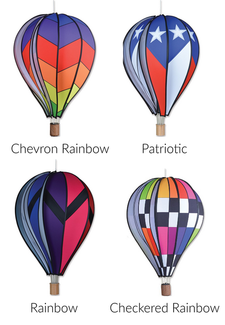 """Hot Air Balloon spinner Hot Air Balloons are a great accent to your home or garden The bright panesl spin in the breeze creating a stunning visual effect Made with UV resistant Sun Tex fabric Measures 17""""x26"""""""