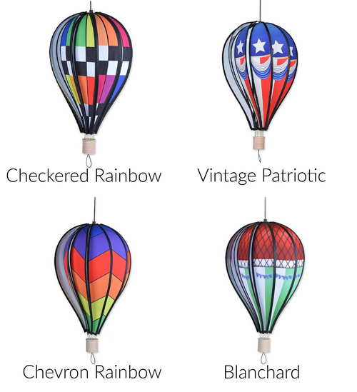 """Hot Air Balloons 18"""" Hot Air Balloons are a great accent to your home or garden The bright panesl spin in the breeze creating a stunning visual effect Made with UV resistant Sun Tex fabric Measures 10""""x18"""""""