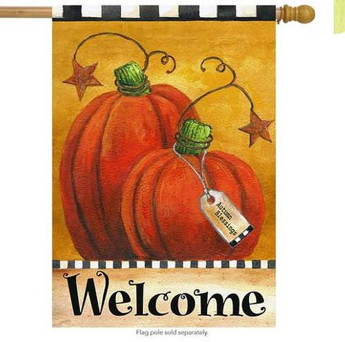 Pumpkin Autumn Welcome Flag