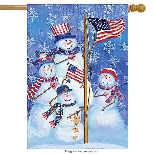 Patriotic Snowmen Flag