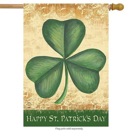 Happy St Patrick's Day Shamrock House Flag